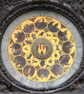 The ornate calendar dial, showing the 12 months of the year, in the Prague Astronomical Clock