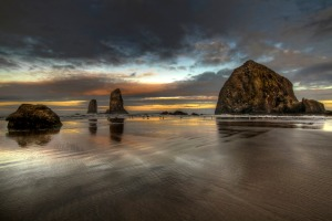 Sunrise at Haystack Rock on Cannon Beach Oregon